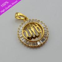 Pendant Necklaces muslim jewelry - 24k Gold Plated Allah Pendant Not Chain Islamic men jewelry High quality zircon jewelry women Muslim Item Islamic Arab Charm Gifts