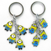 Wholesale New Popular Rare set Despicable me Minions Metal Key Chain Ring Keychain