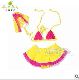 Wholesale Girls Hot Sale Yellow Bikini Swimwear Pretty Three piece Set Children s Elegant Lace Swimsuit