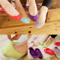 Wholesale All cotton candy color Breathable shallow mouth invisible socks non slip