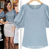 Wholesale Hot sale lady elegant blouses round neck short puff sleeve OL work blouses Korea fashion blouse a267