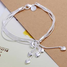 Mix 45 Styles Fashion 925 Silver heart Snake Chain Bracelets Jewelry Woman Girl Lady Links Five Snake Heart Bracelets Birthday Gift