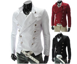 Wholesale 3040 New Hot fashion Men s Casual Personalized asymmetric double breasted Slim Men s jacket Suit Coat