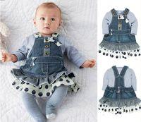 Dot jean skirts - Autumn Baby Girls Clothing Set Polka Dot Denim Jean Dress Braces Skirt Long Sleeved T shirt Kids Piece Suit Children Garment