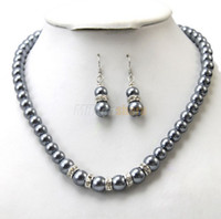 African african grey gifts - Silver Grey Pearl and Rhinestone Necklace and Earrings Party Jewelry Set