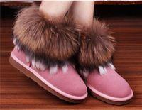 Wholesale Bran New Fashion Winter snow boots Fox Fur Rabbit Fur Snow Boots Leather Tassel Women s Short Boots