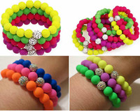 Wholesale Neon Bling Crystal Stretch Bracelet Shamballa Clay Spacer Rubber Beaded Elastic Bracelets with Iridescent Beads Mix Colors