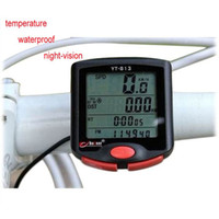 Warterproof   YT-813 LCD Mountain Bike Bicycle Computer Odometer Speedometer temperature Waterproof Night-vision Free Shipping
