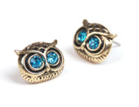 Wholesale New Retro Fashion Lady Big Eyes Owl Stud Earring Earrings Pin Nail earrings stud Fashion W08
