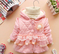 berber fleece coat - Winter Baby Kids Coat Berber Fleece Inside Girls Cotton Coat Hoodies Lace Dot Pink And Green Colour Children Outwear QS514