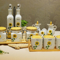 Wholesale Kitchen supplies sunflower piece set ceramic sauce pot set seasoning bottle oil sealed cans