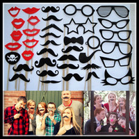 Wholesale 2014 New Arrival Designs Funny Photo booth props with lips moustaches glasses and sticks fashion for wedding Decorations tools