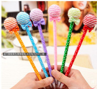 Wholesale Cute Lollipop Pen Ball point pen Office supplies Stationery changeable Shape Rollerball Pens Children s Toys Christmas Gift