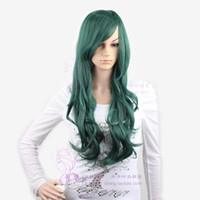 Wholesale 2015 new best sexy health beauty fluffy long green color party queen cosplay hair wig cf031