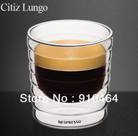 Wholesale hand blown double walled glass Lungo cups ml Double Wall Nespresso Glass Coffee Cup Mug teacup Thermo Glass oz