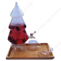 Wholesale Christmas tree Glass Beverage Dispenser with Spigot ml glass teapot L glass warmer base glass cups