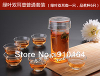 Wholesale 9pcs Set Double handle glass tea pots glass cups blooming tea pot have tea strainer250ml glass cups good gift