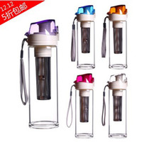 Wholesale Glass water bottle with Stainless steel tea filter glass beverage bottles with plastic cup travel bottle