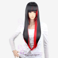 Wholesale 2016 new design lady daily life casual decoration black and red color split straight quot sexy hairstyles for women cosplay hair wigs cf061
