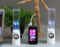 Wholesale 2013 Newest Portable LED Water Speaker Spray Speaker Mini Music jet musical fountain sound stereo Dual Speaker USB Speaker Table Lamp Light