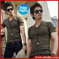 Wholesale 2013 Summer Mens embroidered badge Slim short sleeved tshirt V neck T shirt Cotton Lycra men s t shirts plus size S XXXL C057
