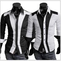 Wholesale 2015 Korea Casual Long Sleeve Single Breatsed Turn Down Collar Black White Fashion Mens Dress Shirt For Men