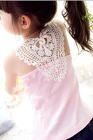 Wholesale The new children s vest girls vest soft striped cotton children back lace vest baby girl straps T shirt vest Girls vest