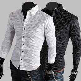Wholesale Famous Classical New Brand Men s Shirt Printed Dots Pattern Long Sleeve Cotton Slim Fit For Men Shirts C38