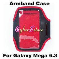 Leather For Samsung  High Quality Sport Gym Running Armband Protector Belt Soft Case Cover for Samsung Galaxy Mega 6.3 i9200 i9208