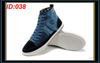 Wholesale Men s High Tops Skateboard Shoes Flat Canvas Casual Mens Shoe Lace up Male Round Toe Streetwear Blue