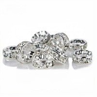 Wholesale Crystal Rondelle Spacer Bead Silver Plated Clear White A Rhinestone mm