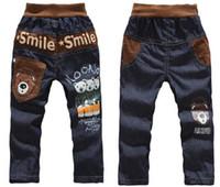 jeans wholesale price - Kids casual pants Boys Cartoon bear trousers Children jeans Smile pants Lowest Price