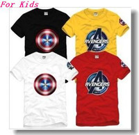 Wholesale Cotton Tee new arrival children tops kids t shirt Captain America logo printed tops t shirt for children color cotton