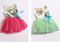 TuTu Summer Pleated 2014 new girls dresses girl tutu dress baby clothing flowers kids cotton lace dress Children Skirt Child Floral girls dress Cute Sweet