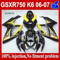Precio de Suzuki gsxr750 fairing-7Gifts + Cowl Fit SUZUKI GSXR750 K6 06 07 Amarillo negro 2006 2007 GSXR-750 GSX-R750 CQ10493 GSXR 750 CALIENTE Amarillo 7.6 Injection Mold carenado