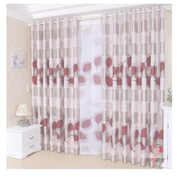 fashion bedroom balcony Pleated Ready made curtain light-proof Red leaves print blackout 2 panels eyelet hooks style