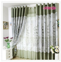 bamboo grommet panels - fashion bedroom balcony Pleated Ready made curtain light proof Green bamboo print blackout panels eyelet hooks style