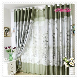 Wholesale fashion bedroom balcony Pleated Ready made curtain light proof Green bamboo print blackout panels eyelet hooks style