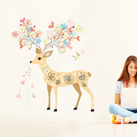 Removable flower stickers wall - x90cm Removable Deer Wall Sticker Flowers Wall Decal Elves Deer Wall Art Stickers Animals Wall Decor