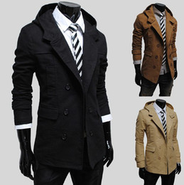 Wholesale 3038 New Hot fashion Men s Casual Hooded Slim double breasted design Men s Coat Outerwear