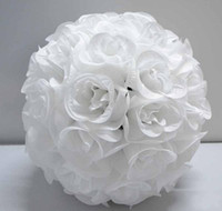 Wholesale 12 Inch Wedding silk Pomander Kissing Ball White roses HUGE GA3908