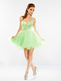 Wholesale In Stock Sexy Cheap One shoulder Beaded Tulle Party Dresses For Womens US Size Green Cheap Under Homecoming Dresses
