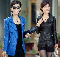 Wholesale Hot New Spring and Autumn women Fashion locomotive PU leather jacket long small coat jacket big yards