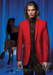 Wholesale New style Red Groom Tuxedos Groomsmen Best Man Men Wedding Suits Prom Formal Bridegroom Suit Jacket Pants Vest Tie DH