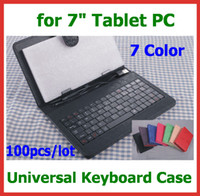 Wholesale 100pcs Universal PU Leather Keyboard Case and Keyboard with USB Port for inch Tablet PC Ainol Novo Fire Myth Onda V711 V712 Cube U25GT