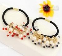 Wholesale Charming Gold Plated Chain White Pearl Crystal Pony Tail Hair Band