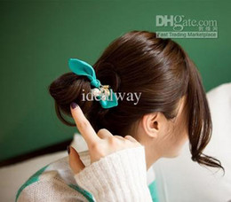 Wholesale New Style Clear Crystal Drip Gold Lock Heart Chiffon Bowknot Ponytail Hairband color mix