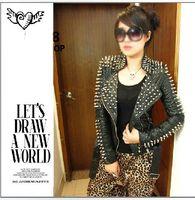 Women basic grains - Hot Sale New STARS LOVES Women s clothing rivet locomotive lapel snake grain leather jacket