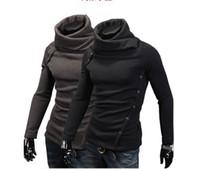Wholesale 2013 new men s Sweaters Fashion slim Korean Warm Heap collar design knitwear long sleeved Sweaters BLACK