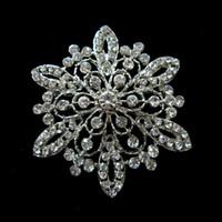 Wholesale 2 Inch Flower Crystal Vintage Silver Tone Diamante Brooch
